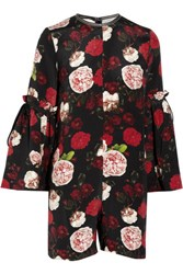 Mother Of Pearl Curtis Floral Print Silk Playsuit Black