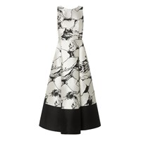 Lk Bennett Sage Printed Full Midi Dress Cream