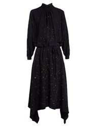 Golden Goose Gabi Asymmetric Hemline Drip Print Crepe Dress Navy Multi