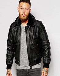Schott Leather Flight Jacket With Faux Fur Collar Black