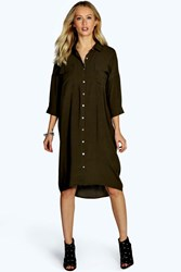 Boohoo Military Pocket Oversized Shirt Dress Khaki