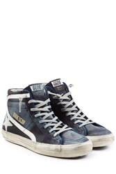 Golden Goose Slide Leather High Top Sneakers Blue