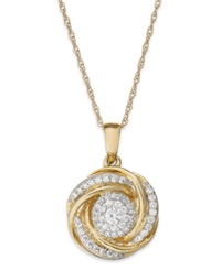 Wrapped In Love 14K Gold Diamond Knot Pendant Necklace 1 2 Ct. T.W.