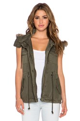 Velvet By Graham And Spencer Odela Army Vest With Faux Fur Trim Green