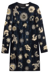Emilio Pucci Embroidered Velvet Dress Blue