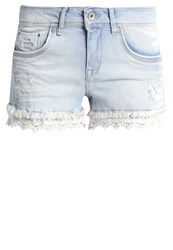 Superdry Denim Shorts Bleach Wash Light Blue Denim
