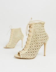 Miss Selfridge Woven Heeled Shoes With Lace Up In Cream Black