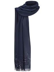 Adrianna Papell Beaded Pashmina With Fringed Edges Midnight