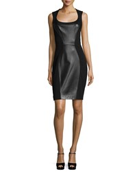 Michael Kors Sleeveless Leather Panel Sheath Dress Black
