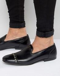 Asos Loafers In Black Leather With Stud Toecap Black