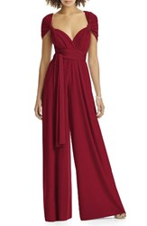 Dessy Collection Plus Size Women's Convertible Wide Leg Jersey Jumpsuit Claret