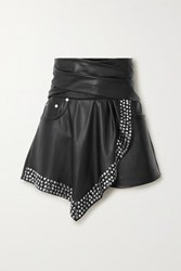 Alexander Wang Draped Studded Faux Leather Shorts Black