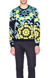 Versace Geometric Print Sweater In Blue Yellow Abstract