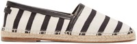 Dolce And Gabbana Cream And Black Striped Espadrilles
