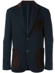 Brioni Leather Patch Blazer Blue