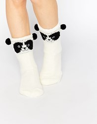 Totes Novelty Chunky Panda Sock Cream