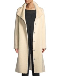 Eileen Fisher Furry Alpaca High Collar Long Coat Cashew