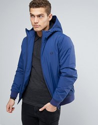 Fred Perry Brentham Jacket Hooded Insulated In Blue Medievil Blue