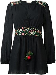 Tory Burch Floral Embroidery Detailing Blouse Black