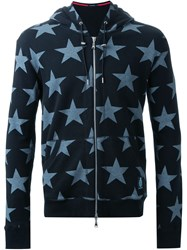 Guild Prime Contrast Star Print Zip Up Hoodie Black