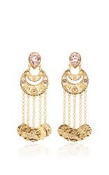 Oscar De La Renta Crystal Filigree C Coin Drop Earring Pink