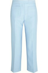 J.Crew Gretch Cropped Wool And Silk Blend Twill Straight Leg Pants Sky Blue