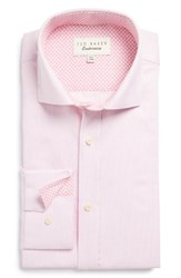 Ted Baker Men's Big And Tall London Blink Trim Fit Check Dress Shirt Pink