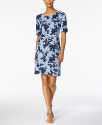 Karen Scott Floral Print Sheath Dress Only At Macy's Light Blue Heather