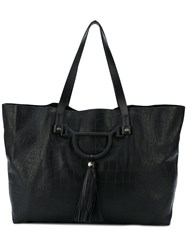 Borbonese Snakeskin Effect Large Tote Women Leather One Size Black