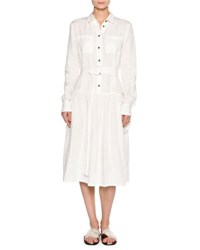 Tomas Maier Long Sleeve Washed Linen Shirtdress White