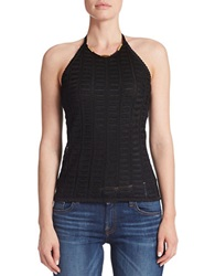 Guess Crocheted Halter Top Black Silver