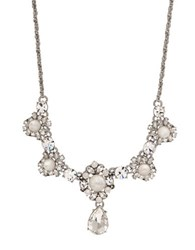 Marchesa 16 Inch Rhodium Silver Plated Frontal Pendant Necklace