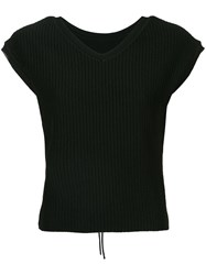 Le Ciel Bleu Short Sleeve Fitted Sweater Black