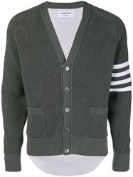 Thom Browne 4 Bar Half And Half Cardigan Grey