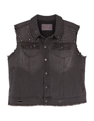 Melissa Mccarthy Seven7 Plus Studded Denim Vest Clash Grey