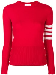 Thom Browne Classic Crewneck Pullover Cashmere With 4 Bar Sleeve Stripe Cashmere Red