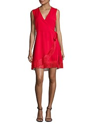 Lea And Viola Fringed Wrap Dress Red
