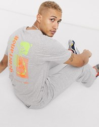 Jack And Jones Originals Boxy T Shirt With Neon Back Print In Grey