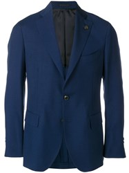 Gabriele Pasini Skull Detail Suit Jacket Blue