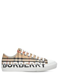 Burberry 20Mm Larkhall Check Sneakers Beige