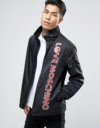 Love Moschino Lightweight Harrington Jacket With Text Print Black