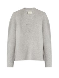 Le Kasha Moscow Deep V Neck Cashmere Sweater Light Grey