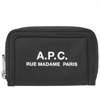 A.P.C. Recuperation Nylon Logo Zip Wallet Black