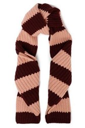 Red Valentino Striped Wool And Cashmere Blend Scarf Burgundy