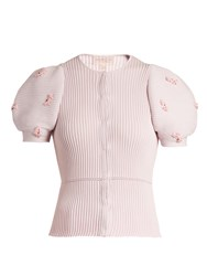 Giambattista Valli Embellished Ribbed Knit Cotton Cardigan Pink Multi