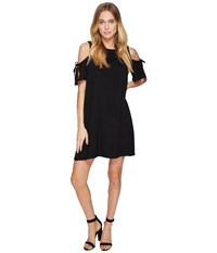 Kensie Drapey French Terry Dress With Cold Shoulder Ks2k7541 Black Women's Dress