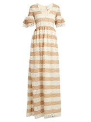 Huishan Zhang Cora V Neck Striped Floral Lace Gown Beige White