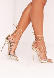 Missguided Reptile Lace Up Heeled Sandals Gold Gold