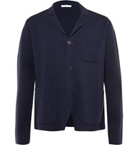 Boglioli Knitted Cotton And Cashmere Blend Blazer Blue