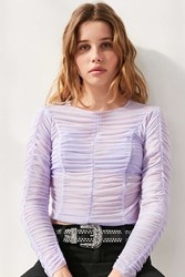 Kimchi And Blue Maisie Ruched Long Sleeve Top Purple